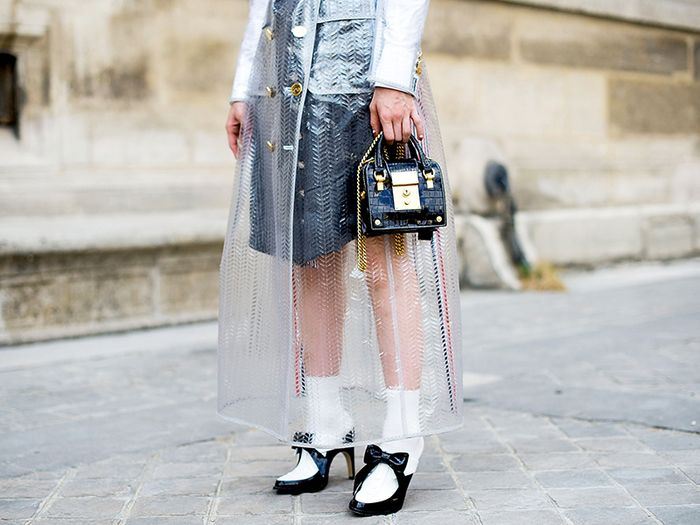 Sheer raincoat - street style