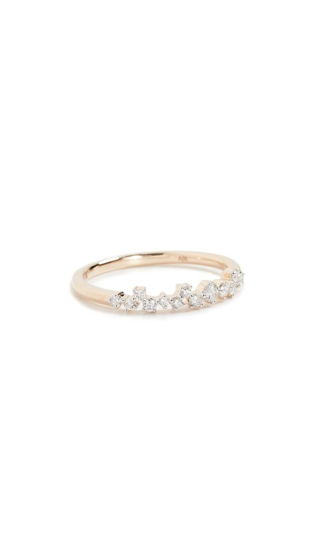 14K Gold Extended Scattered Diamond Ring