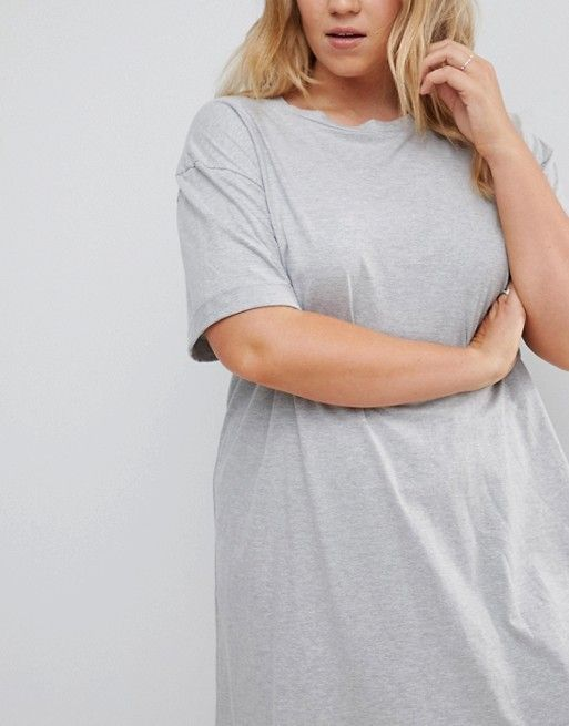 ASOS CURVE Ultimate T-Shirt Dress with Rolled Sleeves