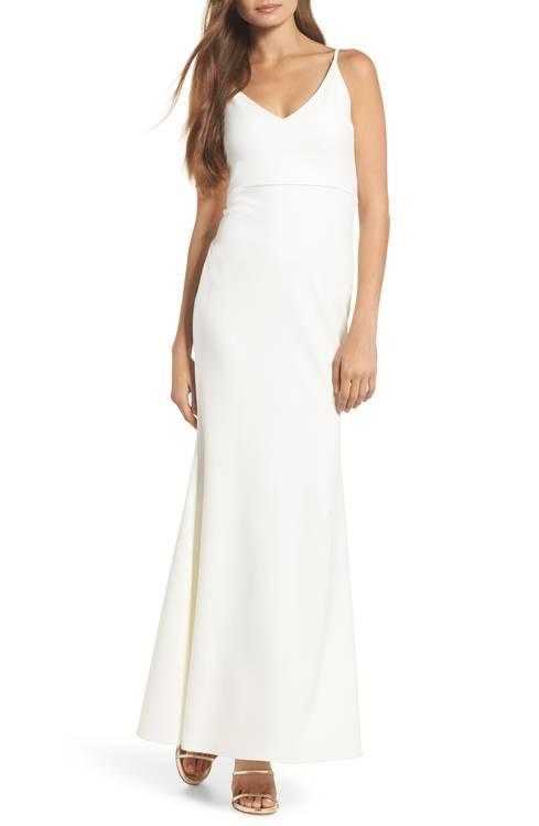 V-Neck Trumpet Gown