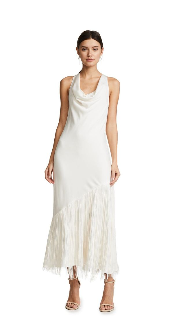 Cowl Neck Dress With Fringe