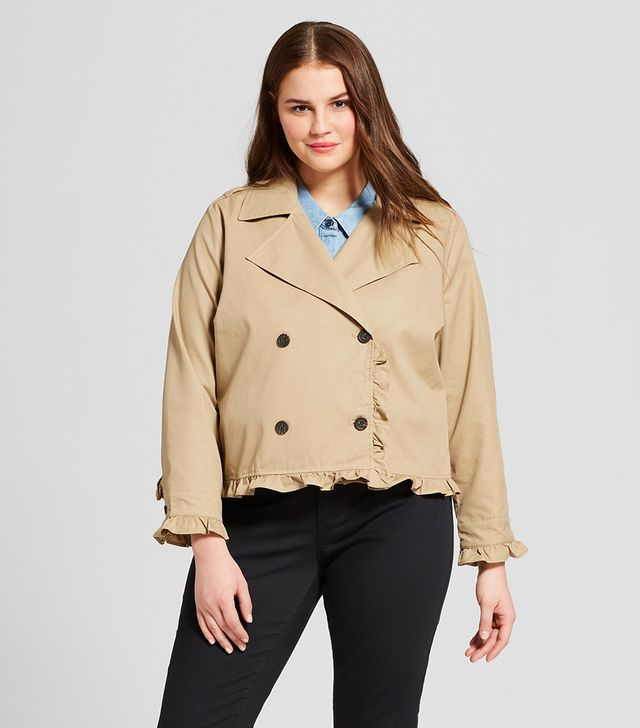 Who What Wear Plus Size Cropped Ruffle Trench Coat