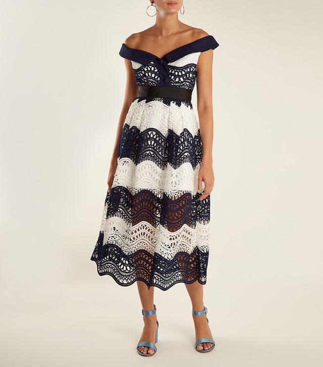 Off-the-Shoulder Guipure-Lace Midi Dress