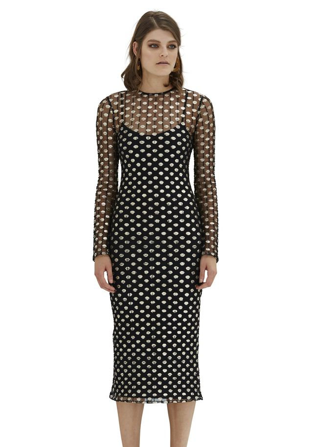 By Johnny Metal Mesh Midi Dress in Black Gold