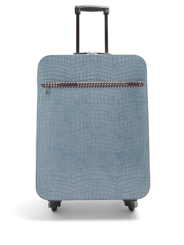 Falabella crocodile-effect faux-leather suitcase