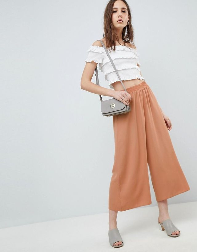 DESIGN tailored easy elasticated waist soft culottes