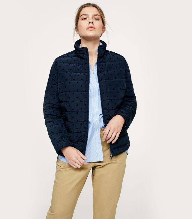 Polka dot quilted anorak