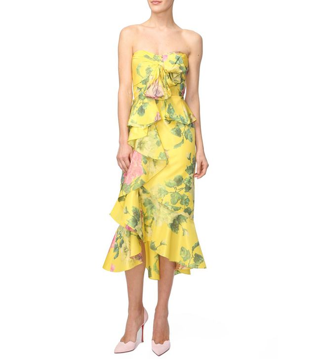 Marchesa Floral Printed Strapless Dress