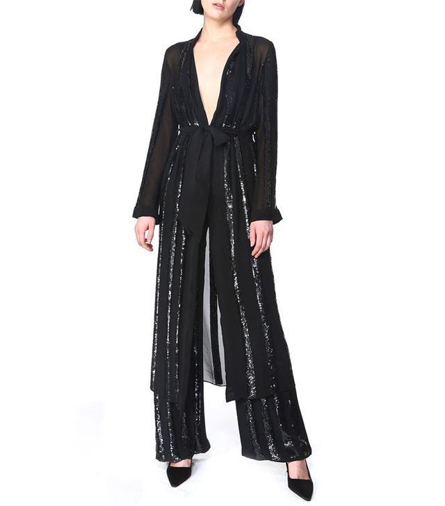 Sally LaPointe Striped Sequin Embroidered Kimono Duster and Pintuck Pant