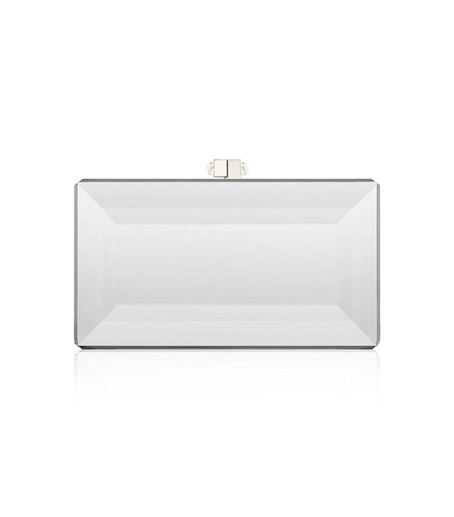 Judith Leiber Couture Silver Reflection Coffered Box Clutch Bag