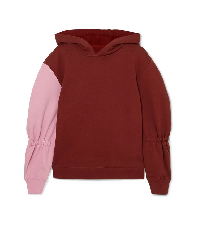 Tibi Two-Tone Cotton-Jersey Hooded Sweatshirt