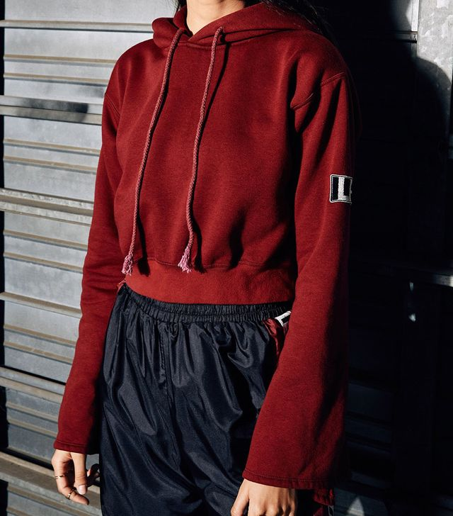 LF the Label Trumpet Sleeve Cropped Hoodie