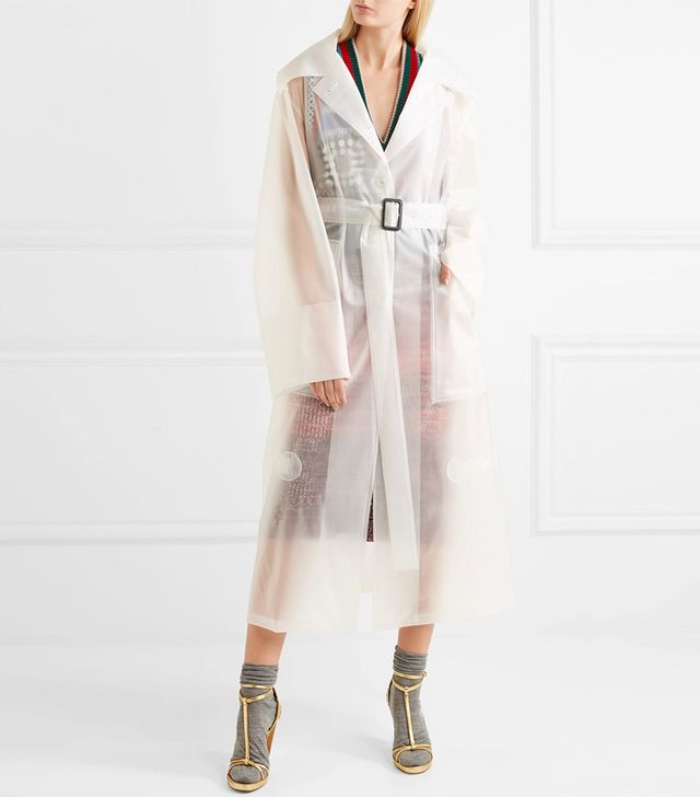 Belted Rubberized Pu Trench Coat