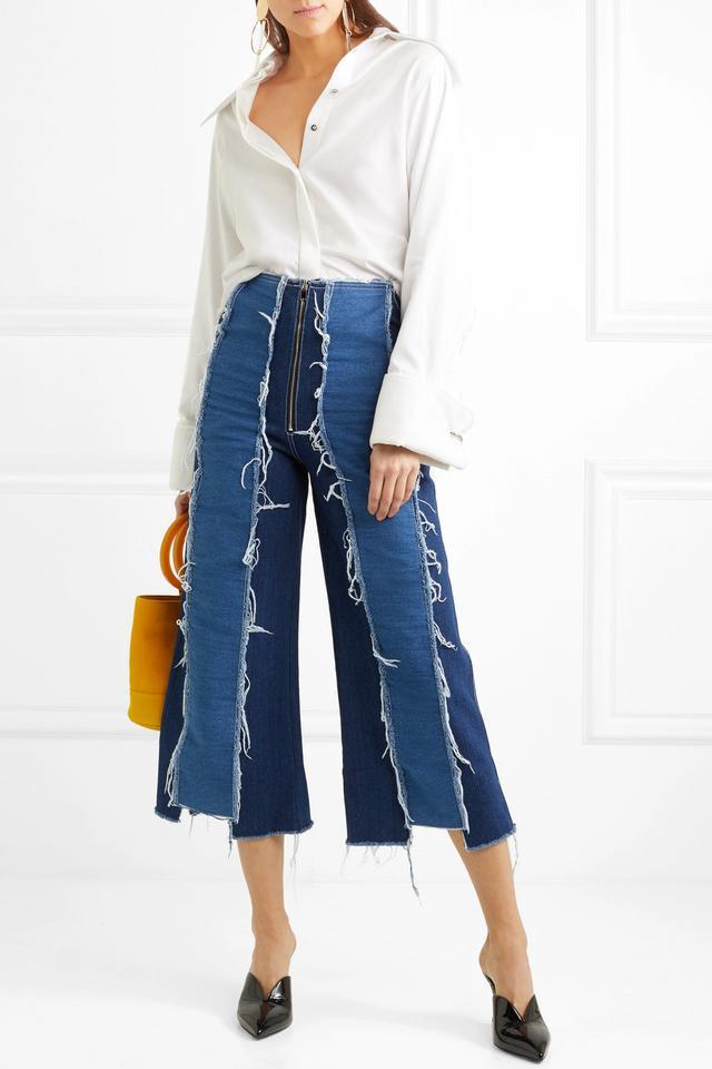 Rejina Pyo Bella Cropped Distressed High-Rise Wide-Leg Jeans