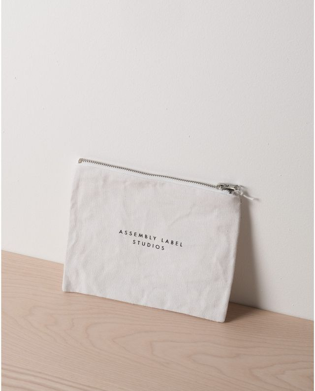Assembly Label Small Linen Purse in White