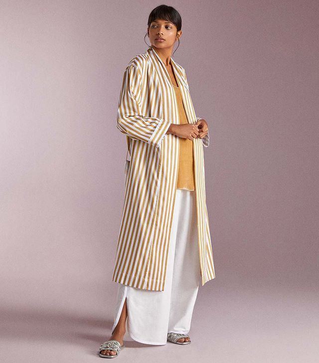 Zara Two-Tone Striped Housecoat