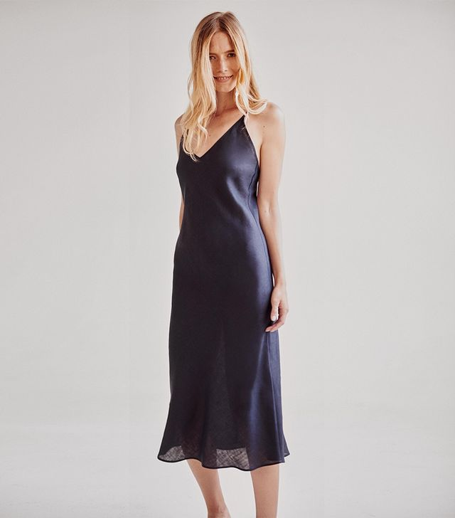 Sleeper Bosporus Navy Linen Slip Dress