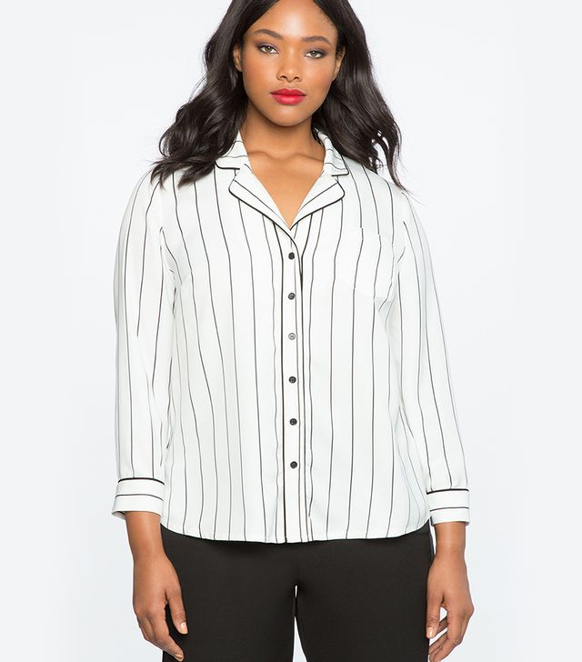 Eloquii Loose Fit Pinstripe Pajama Top