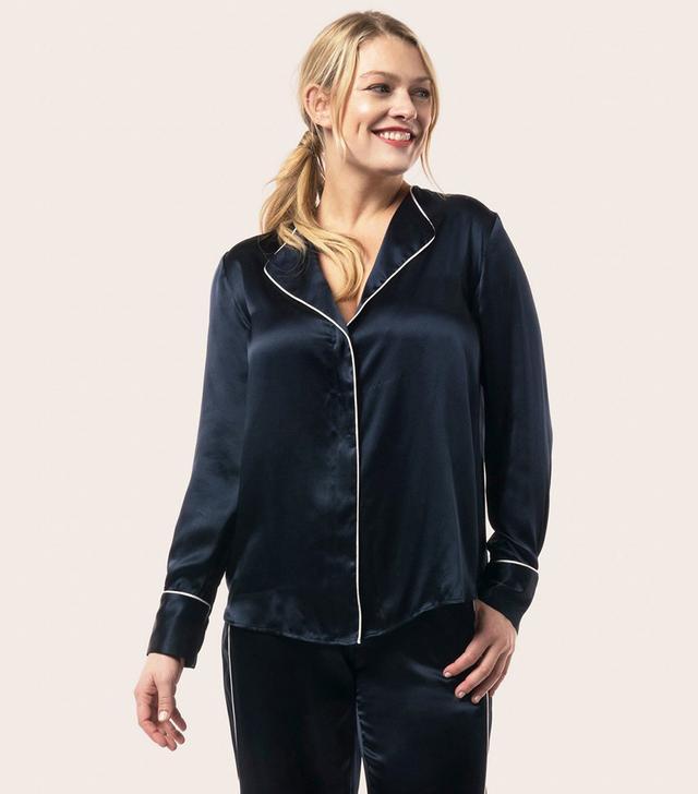 La Ligne Navy Silk PJ Shirt D'eau