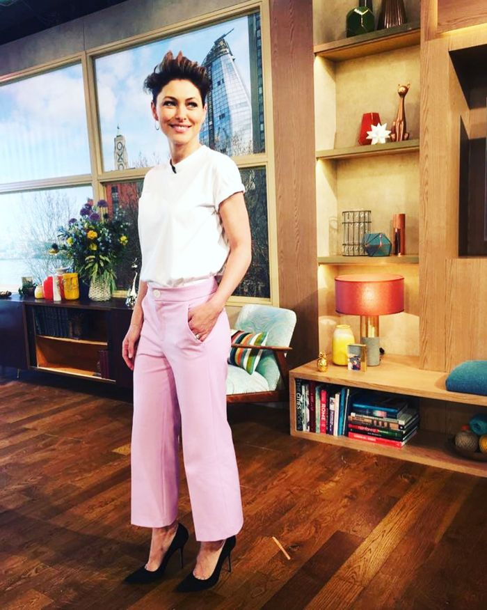 Emma Willis pink Zara trousers