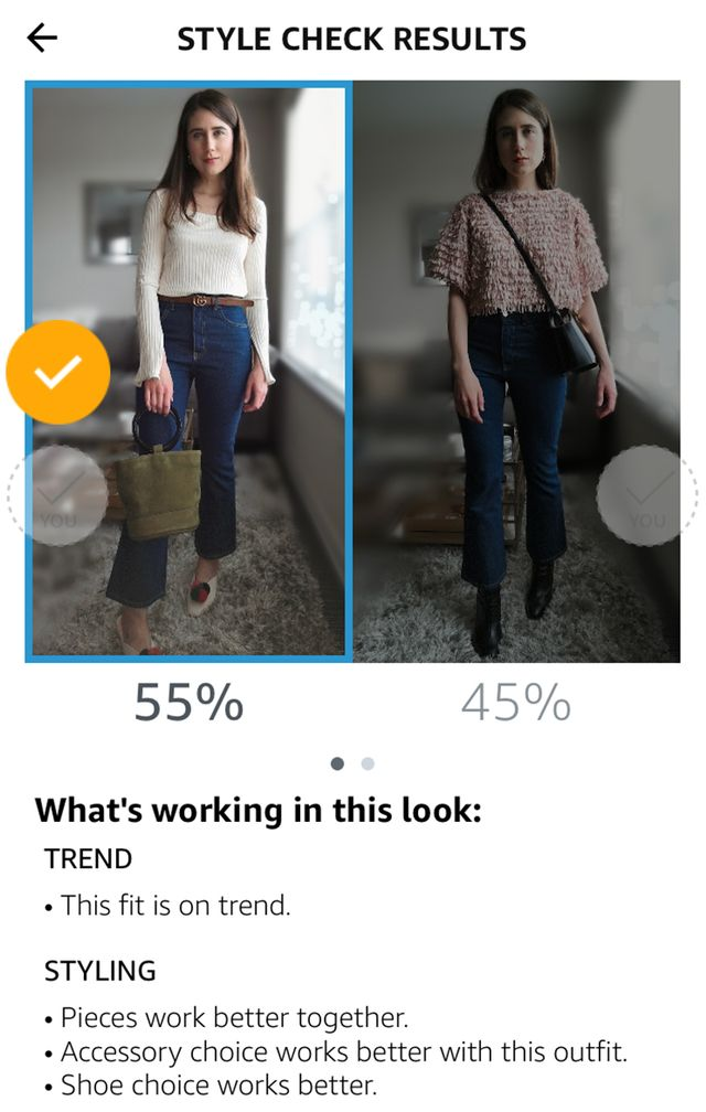 Thoughts: I believe that my accessory choices for the winning outfit are what caught the device's attention. They added interest to my top and jeans, unlike the black bag and boots in the other...