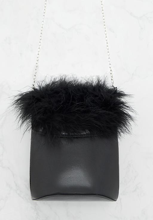 Pretty Little Thing Black Feather Trim Bucket Bag