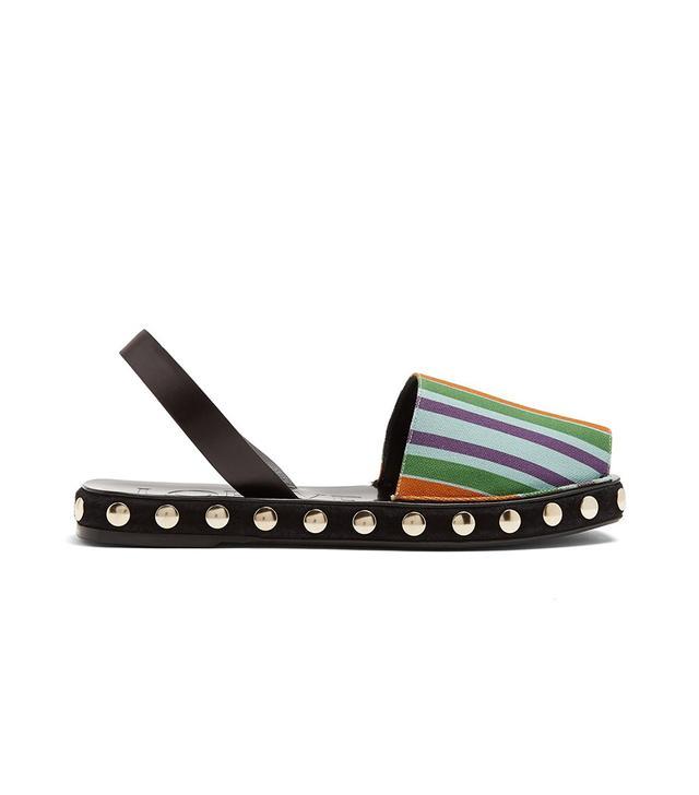 Striped canvas slingback sandals