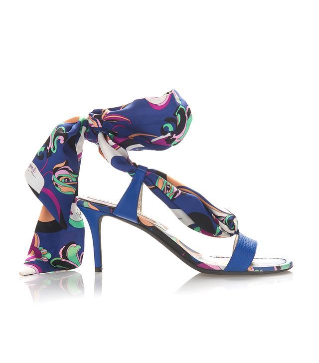 Silk Tie Heeled Sandal