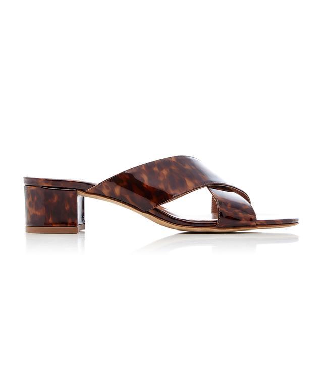 Lauren Tortoiseshell Patent-Leather Slides