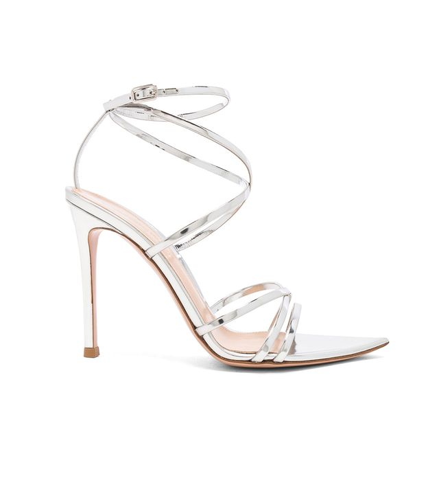Gianvito Rossi Metallic Leather Kim Cross Strap Sandal