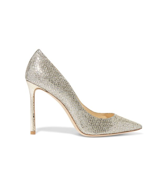 Romy 100 Glittered Leather Pumps