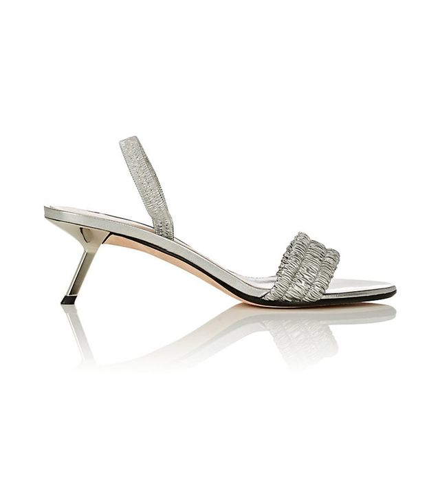 Crucis Metallic Leather Slingback Sandals