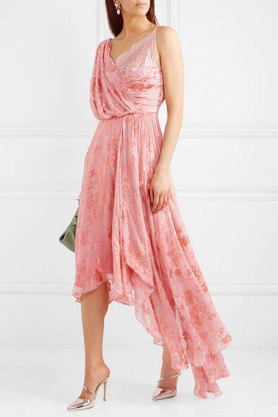 Elenora Asymmetric Devoré Silk-blend Chiffon And Crepe De Chine Dress
