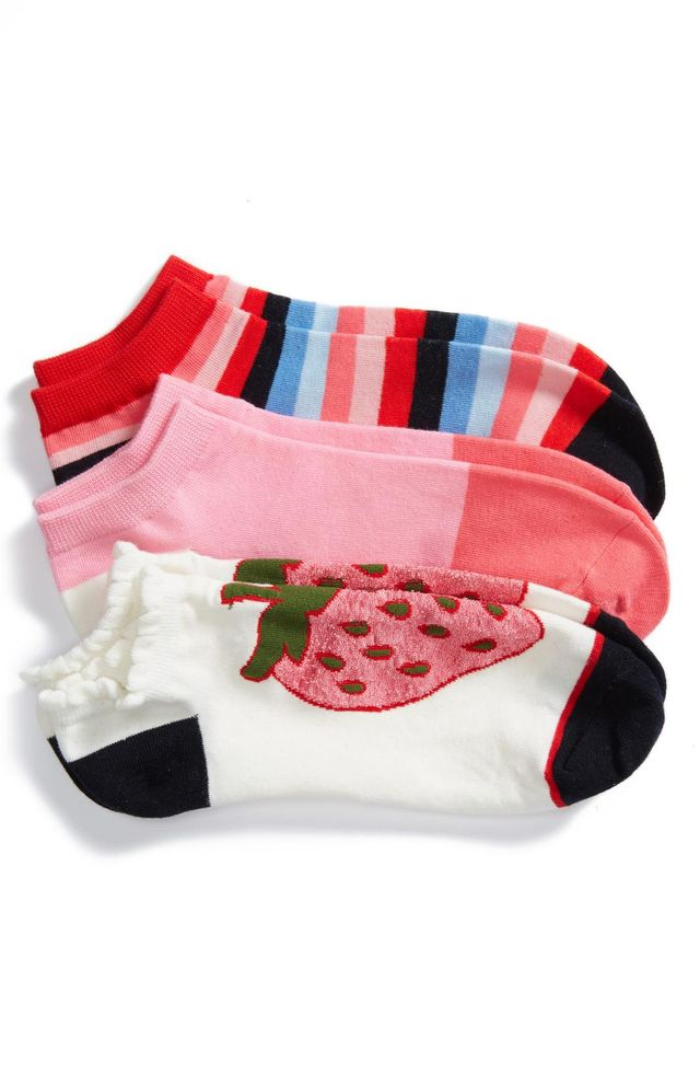 Women's Kate Spade New York Strawberry 3-Pack No-Show Socks