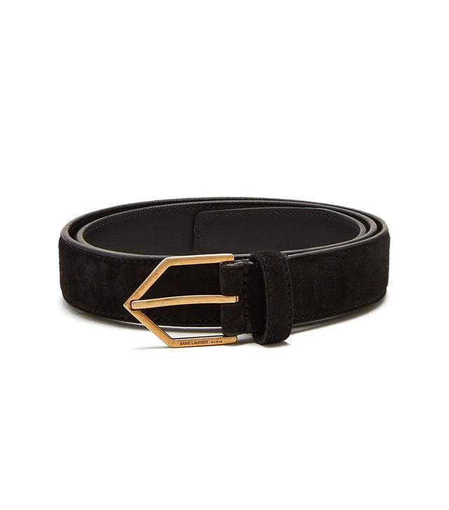 Triangle-buckle skinny leather belt