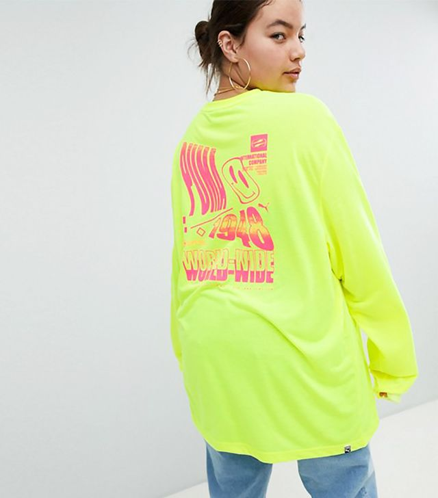 Long Sleeve T-Shirt With Techno Logo in Neon Yellow