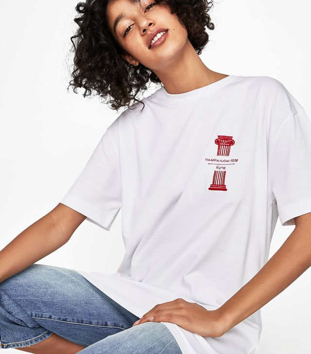 Zara Long T-Shirt With Embroidered Detail