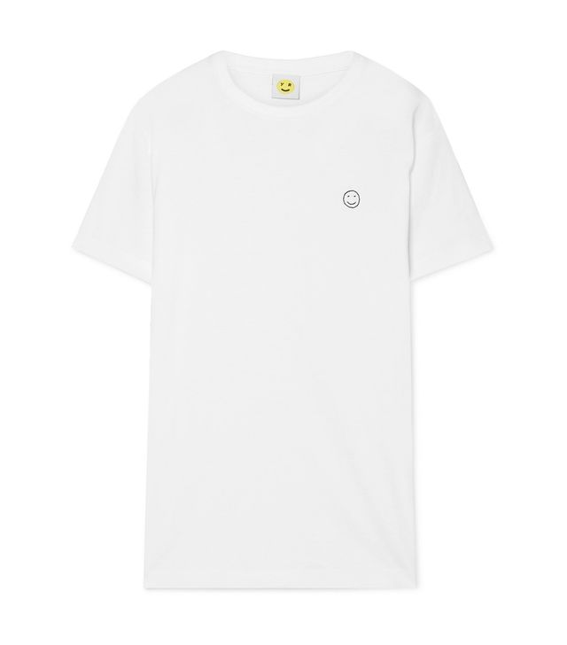 Smiley Embroidered Cotton-Jersey T-Shirt