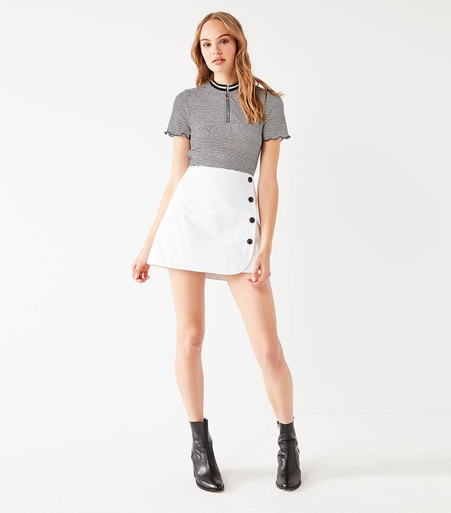 UO Shelly Twill Button-Down Mini Skirt