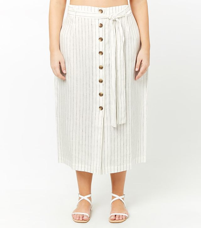 Forever 21 Striped Button-Front Maxi Skirt