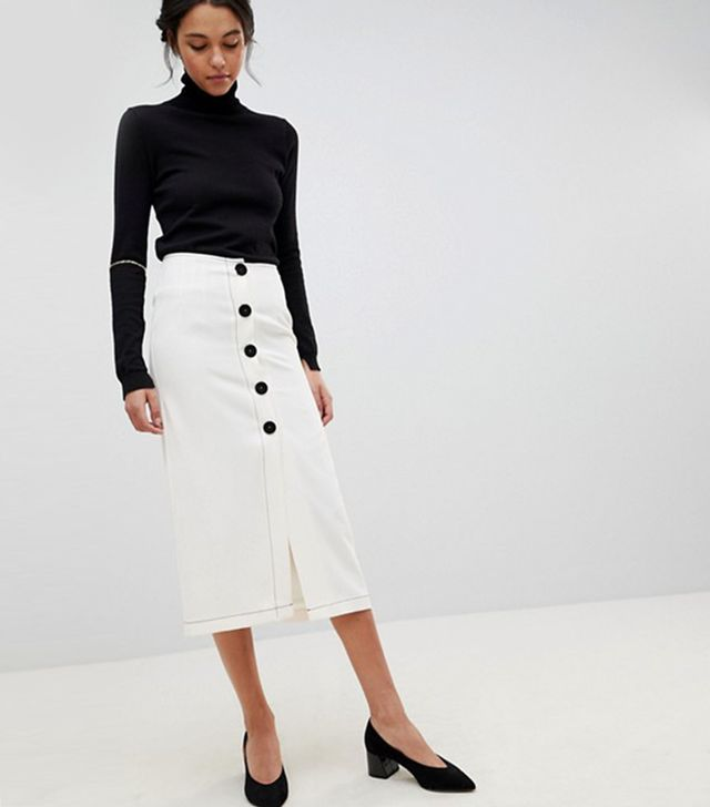 Design Midaxi Skirt With Contrast Buttons