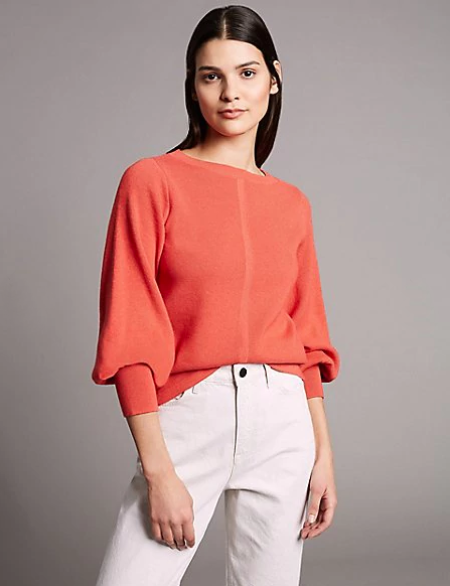 Marks and Spencer Wool Blend Textured Bell Sleeve Jumper in Flame
