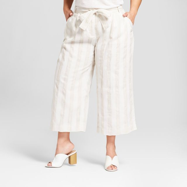 Who What Wear Striped Paperbag Crop Pants