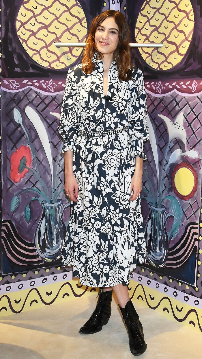 Alexa Chung printed dress: with cowboy boots