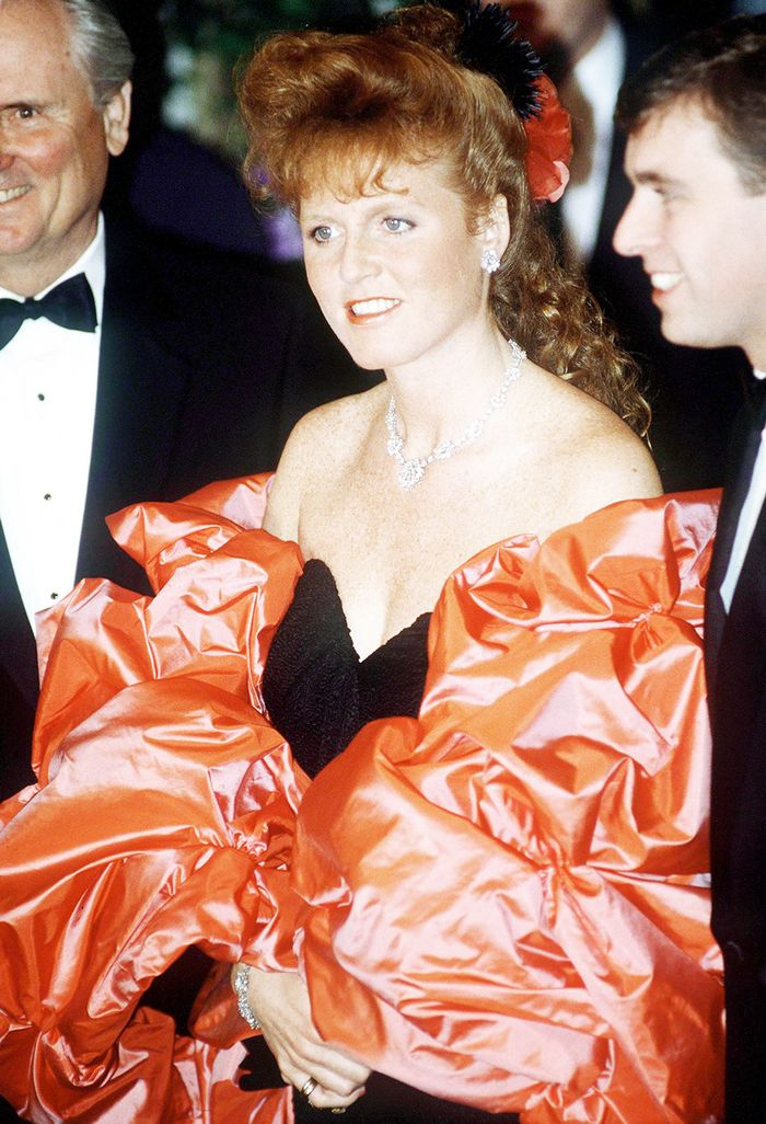 Duchess Sarah Ferguson aka Fergie's Young Fashion Style: a 1980s red and black taffeta gown