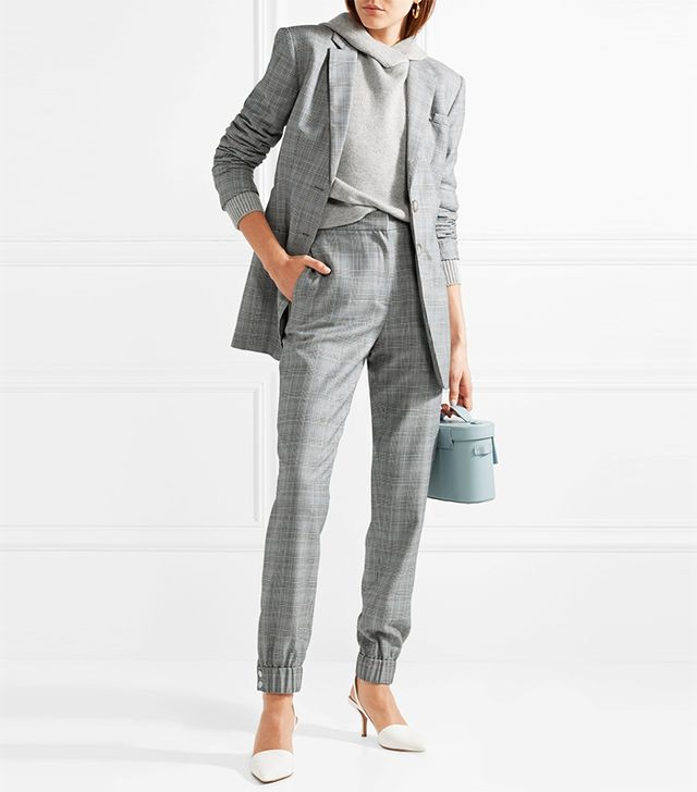 Cooper Prince Of Wales Checked Wool And Silk-Blend Track Pants
