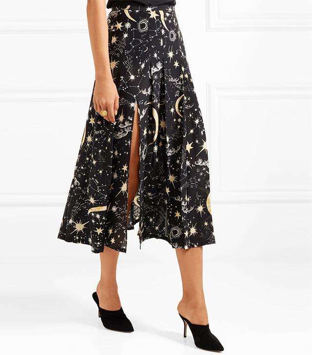 Georgia Pleated Printed Silk Crepe De Chine Midi Skirt