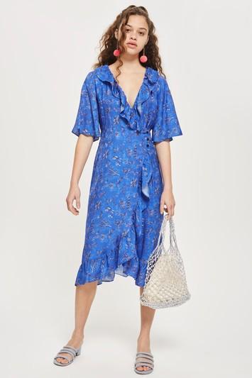 Floral Jacquard Midi Wrap Dress