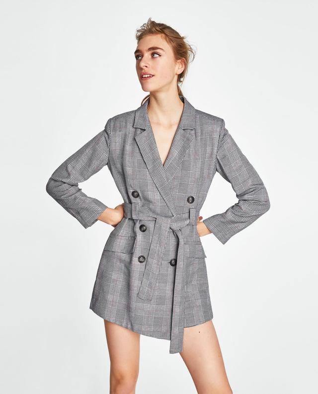 Zara Checked Blazer-Style Jumpsuit