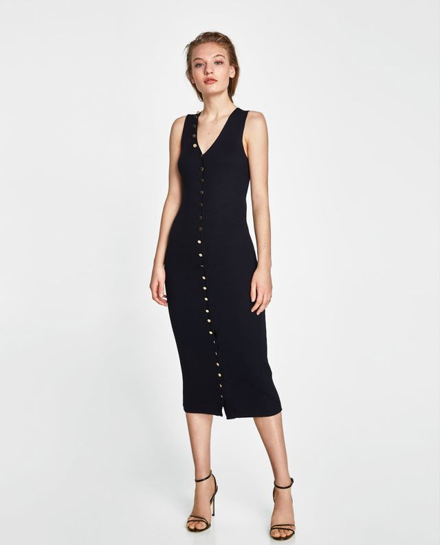 Zara Long Striped Buttoned Dress
